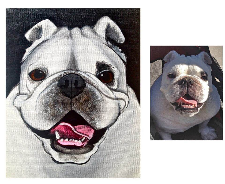 bullydog pet painting by katy helen