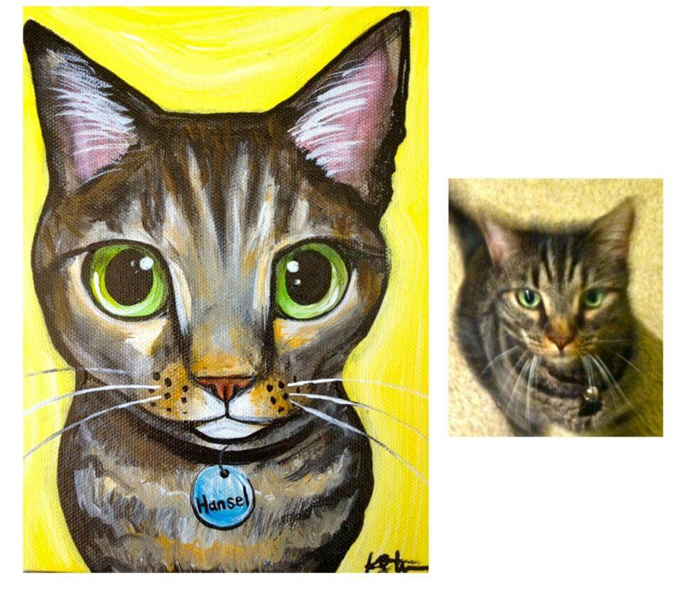 cat Pet painting in san diego by katy helen
