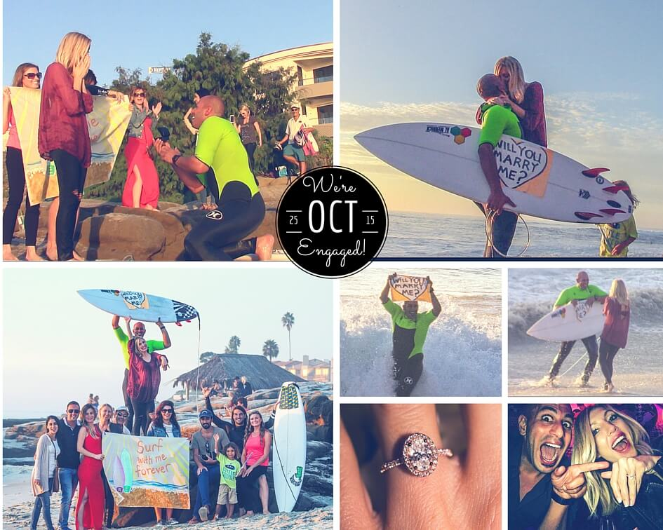 Epic Romantic Wedding Surf Proposal in San Diego