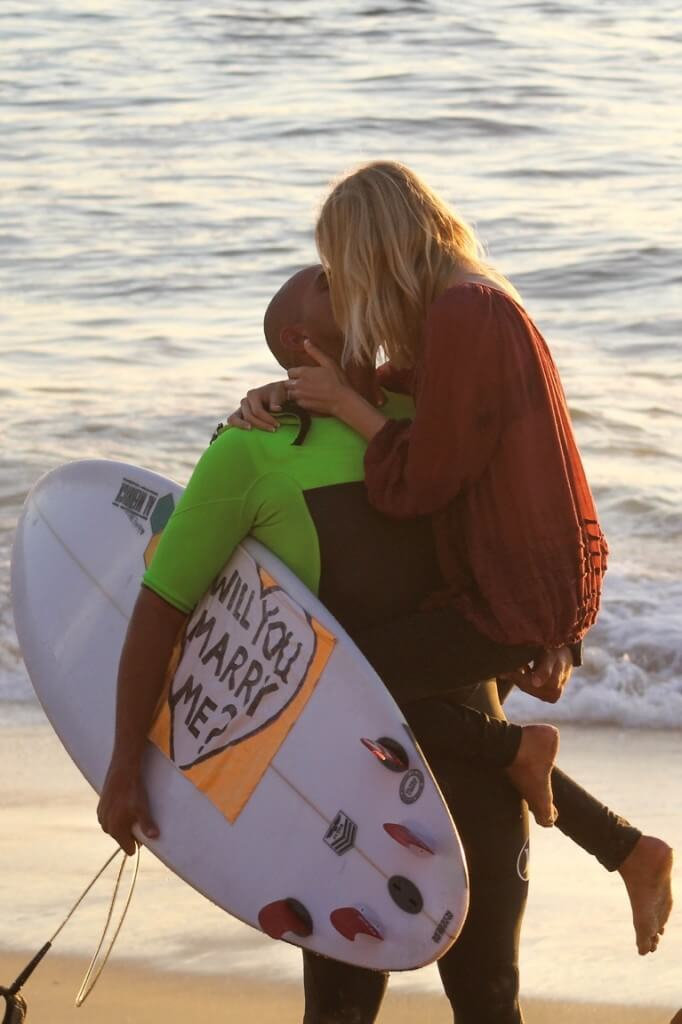 romantic surf proposal in san diego