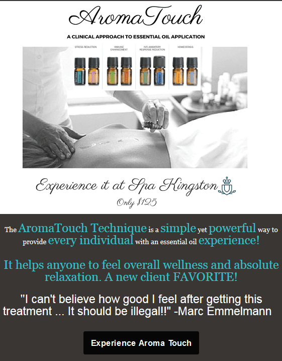 Experience Aroma Touch at Spa Kingston Day Spa