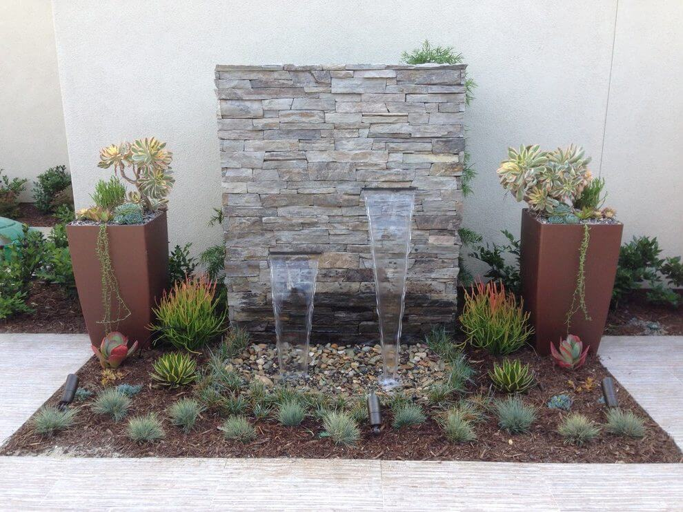 Consider a water feature with succulents
